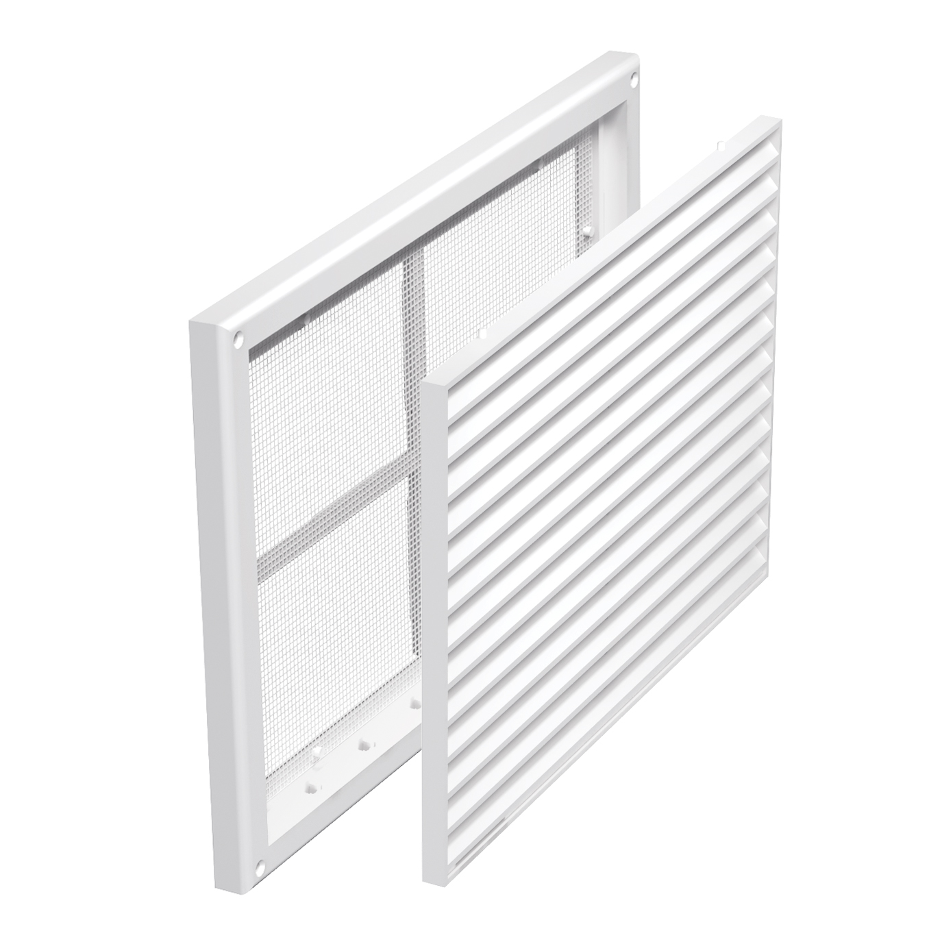 Lüftungsgitter PVC ohne Flansch mit festen Jalousien und Insektenschutz  20x20 mm, weiß