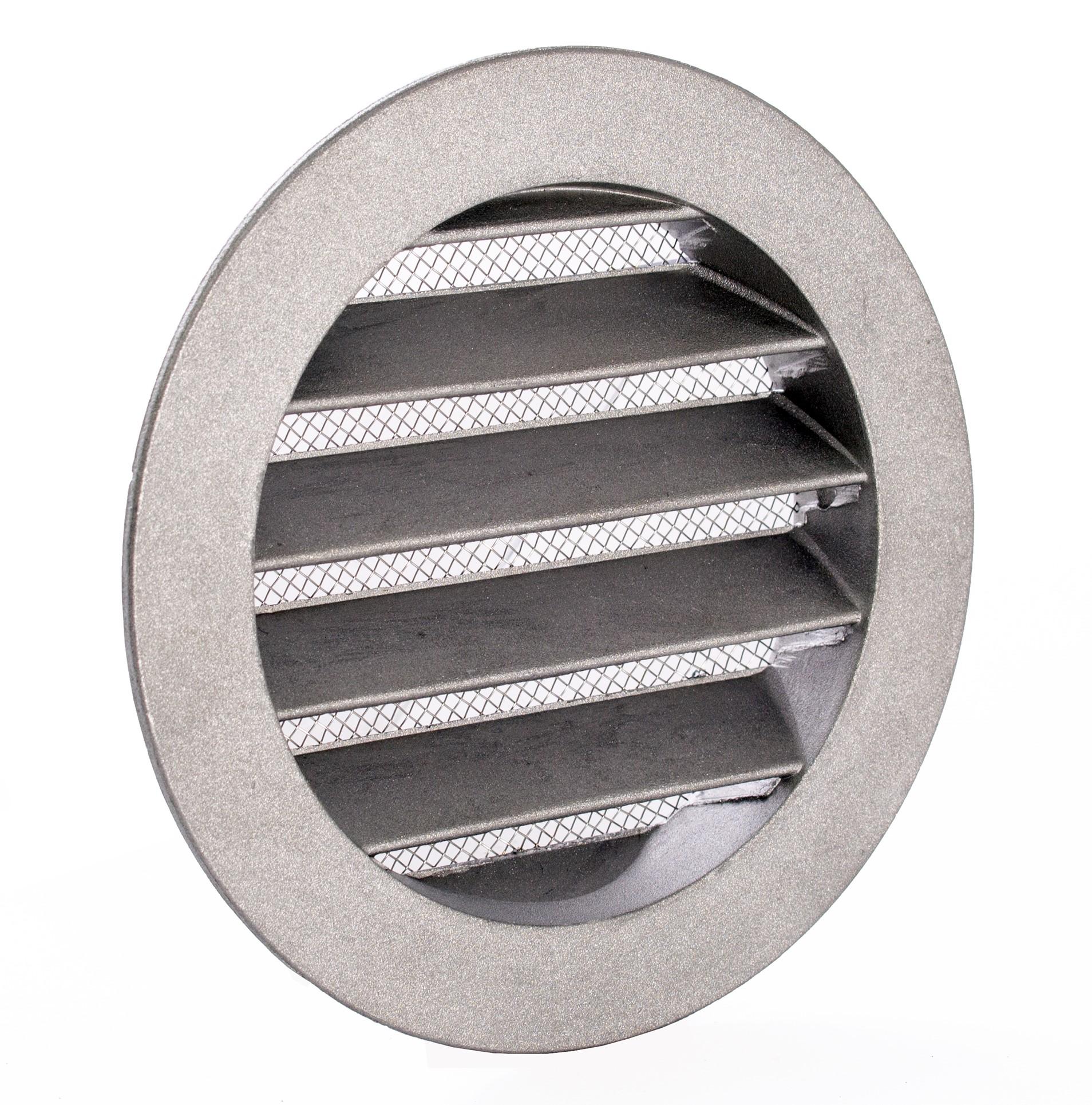 Lüftungsgitter aus Metall mit Flansch und Insektenschutzgitter Ø 20 mm